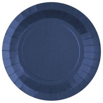 10 assiettes rondes compostables rainbow bleu royal