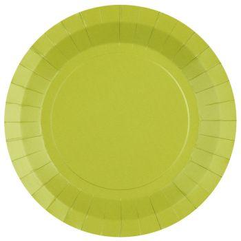 10 assiettes rondes compostables rainbow vert kiwi