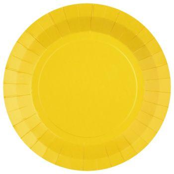 10 assiettes rondes compostables rainbow jaune