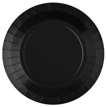 10 assiettes rondes compostables rainbow noir