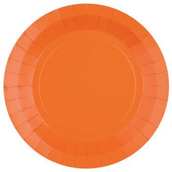 10 assiettes rondes compostables rainbow orange