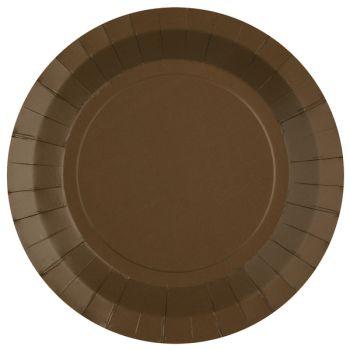 10 assiettes rondes compostables rainbow chocolat