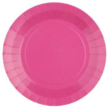 10 assiettes rondes compostables rainbow rose bonbon