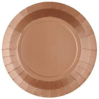10 assiettes rondes compostables rainbow bronze