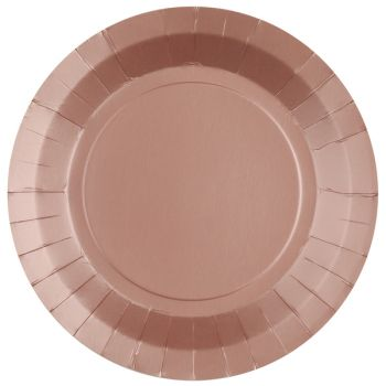 10 assiettes rondes compostables rainbow rose gold
