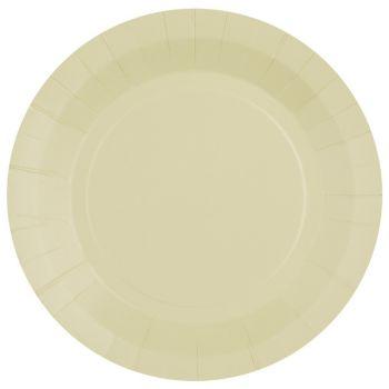 10 assiettes rondes compostables rainbow ivoire