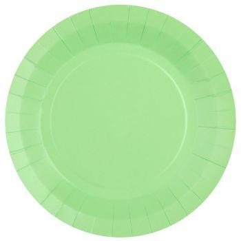 10 assiettes rondes compostables rainbow mint