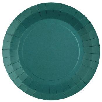 10 assiettes rondes compostables rainbow bleu canard