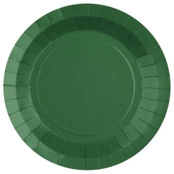 10 assiettes rondes compostables rainbow vert foncé