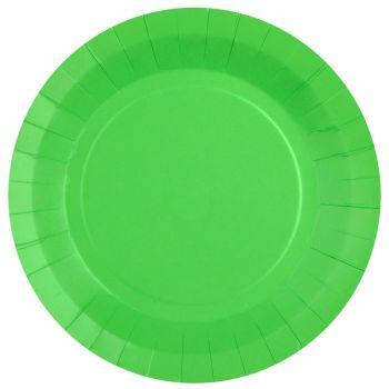 10 assiettes rondes compostables rainbow vert