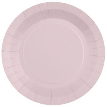 10 assiettes rondes compostables rainbow rose clair
