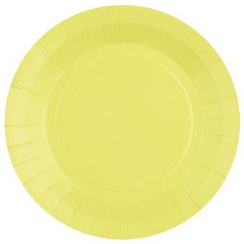 10 assiettes rondes compostables rainbow jaune citron