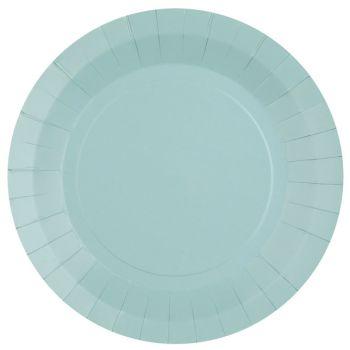 10 assiettes rondes compostables rainbow bleu clair