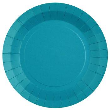 10 assiettes rondes compostables rainbow bleu aqua