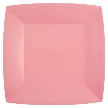10 assiettes carrées compostables rainbow rose
