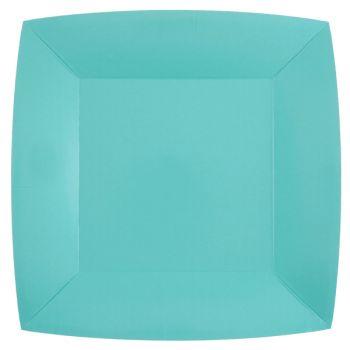 10 assiettes carrées compostables rainbow bleu ciel