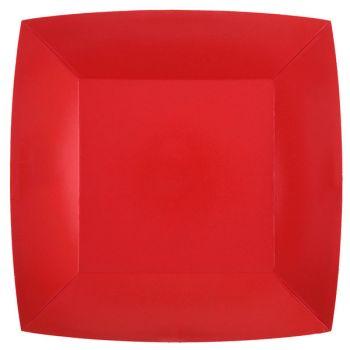 10 assiettes carrées compostables rainbow rouge