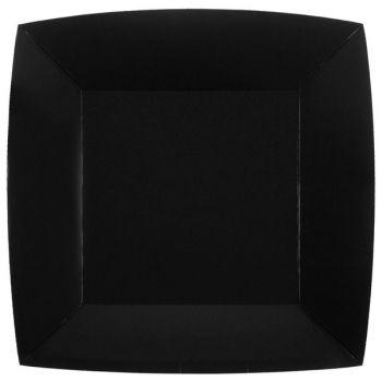 10 assiettes carrées compostables rainbow noir