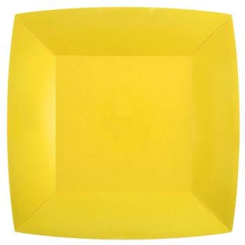 10 assiettes carrées compostables rainbow jaune