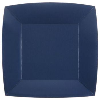 10 assiettes carrées compostables rainbow bleu royal