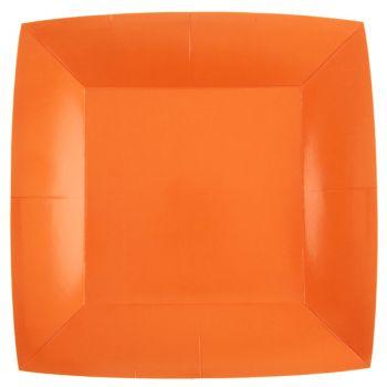 10 assiettes carrées compostables rainbow orange