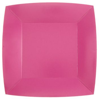 10 assiettes carrées compostables rainbow rose bonbon