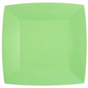 10 assiettes carrées compostables rainbow mint