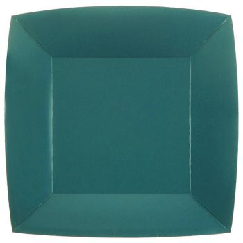 10 assiettes carrées compostables rainbow bleu canard
