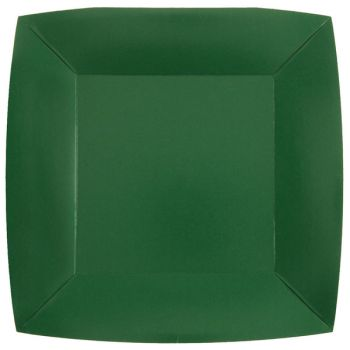 10 assiettes carrées compostables rainbow vert foncé