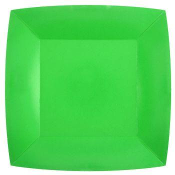 10 assiettes carrées compostables rainbow vert