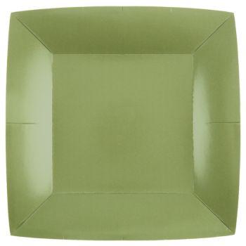 10 assiettes carrées compostables rainbow vert olive