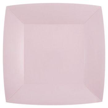 10 assiettes carrées compostables rainbow rose clair