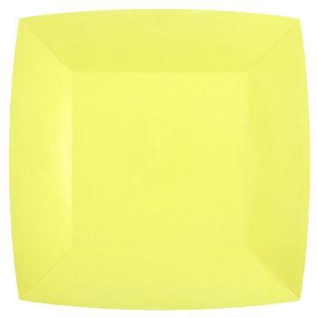 10 assiettes carrées compostables rainbow jaune citron