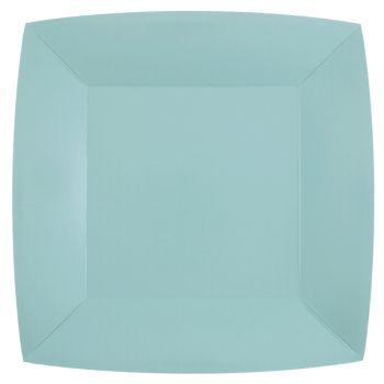 10 assiettes carrées compostables rainbow bleu clair