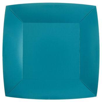 10 assiettes carrées compostables rainbow bleu aqua