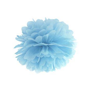 Pompon en papier bleu Ø35cm