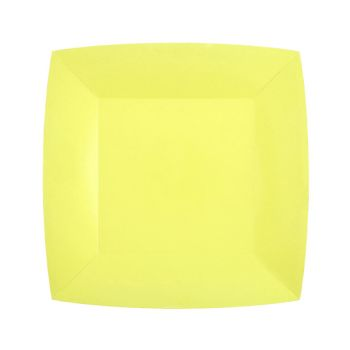 10 petites assiettes carrées compostables rainbow jaune citron