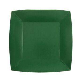 10 petites assiettes carrées compostables rainbow vert foncé