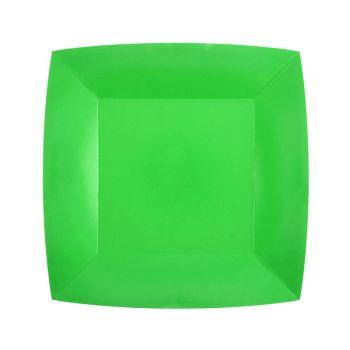 10 petites assiettes carrées compostables rainbow vert