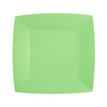 10 petites assiettes carrées compostables rainbow mint