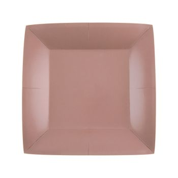 10 petites assiettes carrées compostables rainbow rose gold