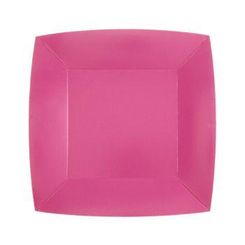 10 petites assiettes carrées compostables rainbow rose bonbon