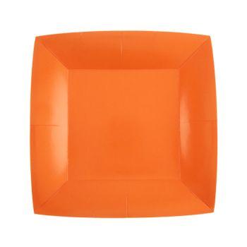 10 petites assiettes carrées compostables rainbow orange