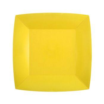10 petites assiettes carrées compostables rainbow jaune