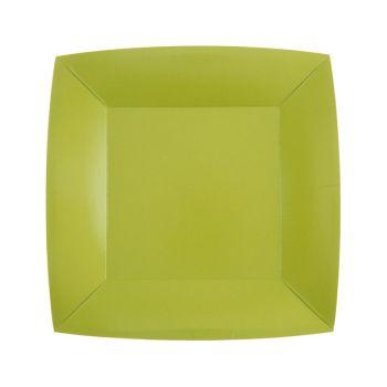10 petites assiettes carrées compostables rainbow vert kiwi