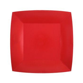10 petites assiettes carrées compostables rainbow rouge