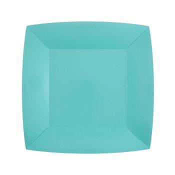 10 petites assiettes carrées compostables rainbow bleu ciel