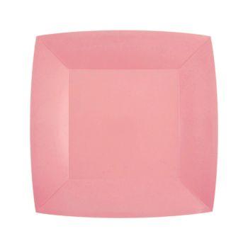 10 petites assiettes carrées compostables rainbow rose