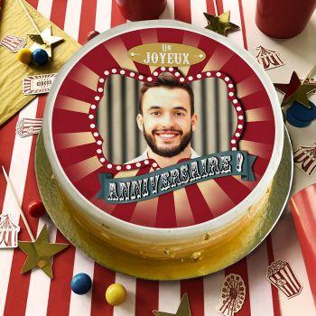 Disque sucre pour gâteau personnalisé cirque vintage JA