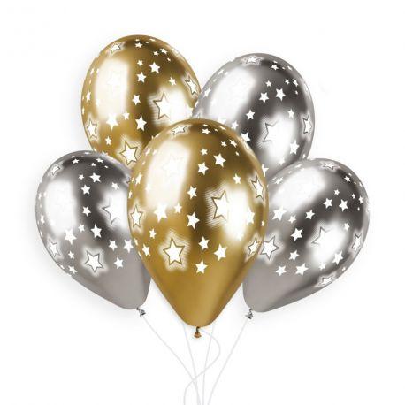 Sachet de 5 ballons en latex assortis Shiny or et argent avec impression étoiles!Ø 33cm